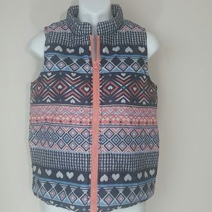 Puffer vest pink black blue hearts